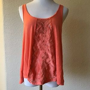 Free people orange linen blend lace tank top